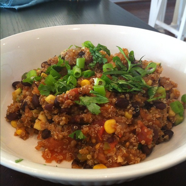 Quinoa and Black Bean Chili. This was absolutely amazing. Making it lots in the future. I kind of used what I had on hand so it's missing a couple of things like jalapenos and more bell pepper. Here is the link to the recipe:  http://allrecipes.com/recipe/quinoa-and-black-bean-chili/