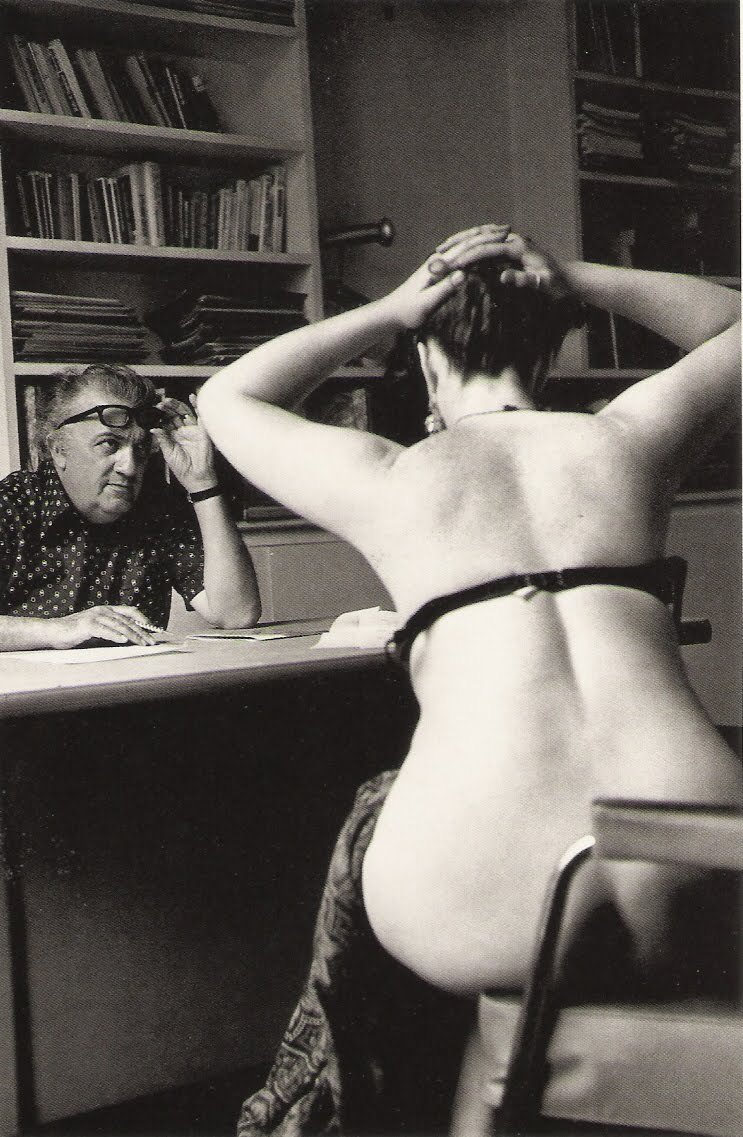 Federico Fellini auditions actors Casanova, Paris, 1975 ph. by Michelangelo Durazzo