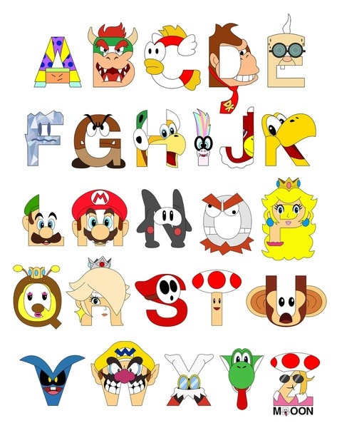 Super Mario Alphabet Created by Mike Boon Prints available at society6.  Twitter || Blogspot