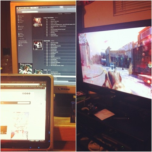 My screen(s): Blogging & music. His screen: Killin' fools @frank_jc  #hisandhers (Taken with Instagram)