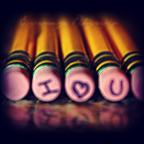 This is how I write it in class:) #iloveyou #love #pencils #yellow #green #erasers #class #desk #2012 #wednesday #night #igers #instago #instadaily #instahub #instagramhub #instagrammers #picoftheday #bestoftheday  (Taken with Instagram)