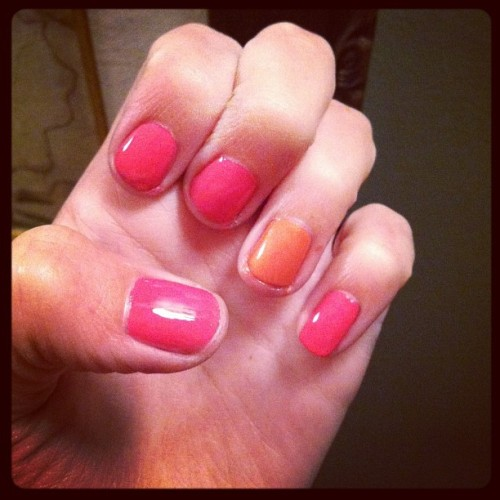 Awkward fingers 💅 #nails #pink #opi #chinaglaze #princess #summer (Taken with Instagram)