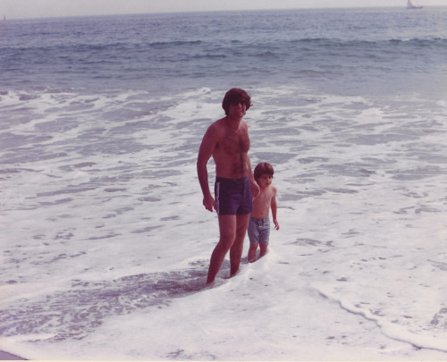 some beach, 1976 (?).  here's one with the old man…not so much mortifying…its effect more akin to chopping several onions…