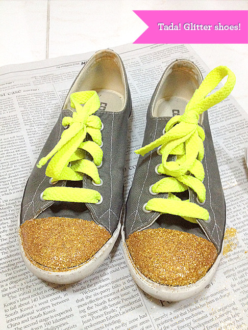 Had a party with old shoes last night with some gold glitter.