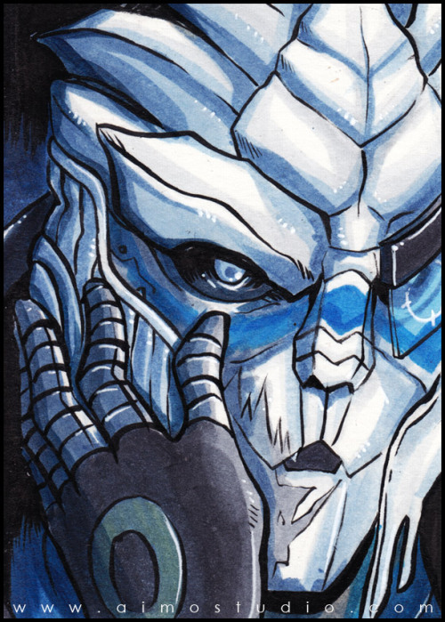 PSC - Garrus Vakarian (and a bit of Commander Shepard) Original art available at my Artfire store
