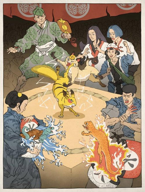 deviantart:  Pokemon as an Ukiyo-e by ~thejedhenry