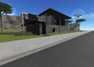 Having fun with the standard issue prefab house in Cloud Party. The build/texture tools are a little clunky, camera commands even more so.