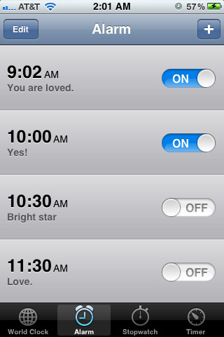 I title my alarms with affirmations…
