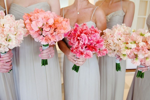 Different bridesmaids bouquets. LOVE.