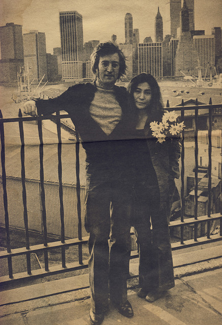 "bohemea:  John Lennon & Yoko Ono - Parade, June 25th 1972 From an article titled ""The Americanization of John and Yoko"" about John & Yoko's fight to stay in New York. The caption to this photo reads: John and Yoko have fallen in love with America, particularly New York City. ""There's no place like New York for artists,"" says John. ""The city breeds ideas. Like all of America, it's alive."""