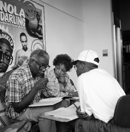 "theacademy:  Behind the scenes with Spike Lee: Married actors Ossie Davis and Ruby Dee on set with the writer/director of ""Do The Right Thing"" (1989). (Image via Margaret Herrick Library)"