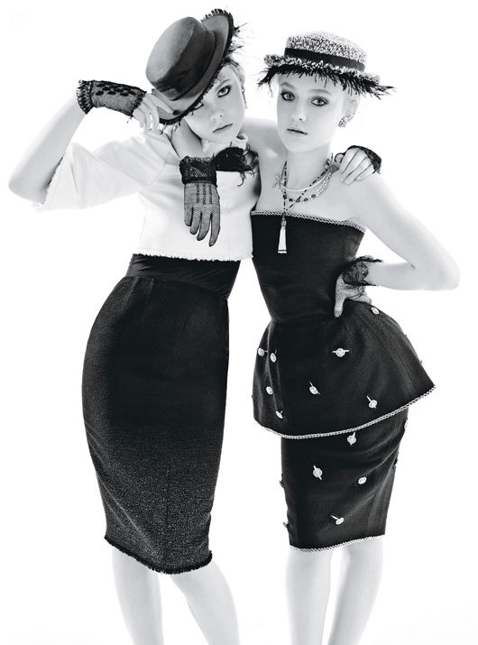 Elle Fanning and Dakota Fanning photographed by Mario Sorrenti for W Magazine, December 2011