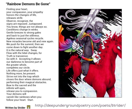 """Rainbow Demons Be Gone"" by Strider on DeepUndergroundPoetry.com. Click on the poem to be linked to Strider's profile and read more of his work."