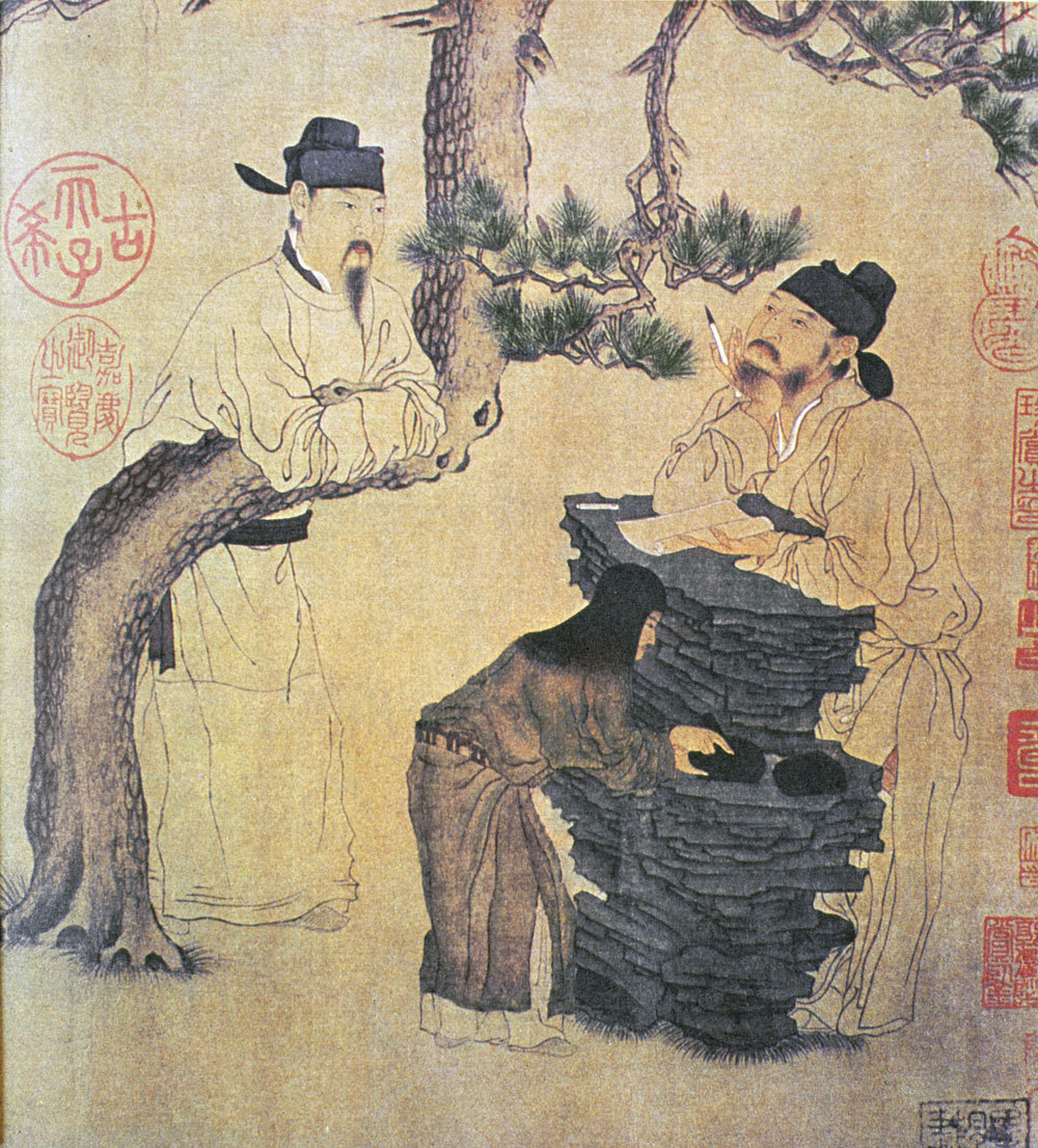 ancientart:  Ancient Chinese scroll art showing a Chinese school and an ancient Chinese poet.