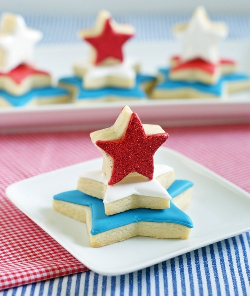 Red, White, and Blue Star Cookie Towers from Bake At 350.