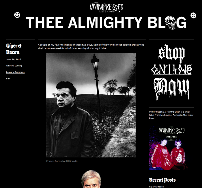 Our blog has now swapped over from tumblr to it's own domain. If that's annoying for you then I am sorry. If you feel like you want to continue following our movements, please bookmark unimpressed666.com.