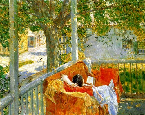 crazypluralworld: frederick childe hassam  (1859-1935) couch and verandah at cos cob.