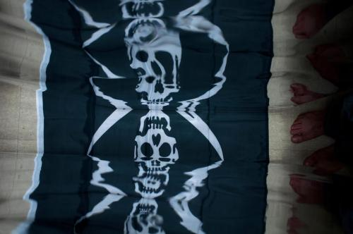 [Occupied] mirror curtain, by Cap'n Boris #PIRATE   Make your own Flag, visit  http://thepirateflag.tumblr.com  check Boris Oicherman  and his work : http://oicherman.com/