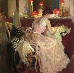 colourthysoul:  Richard Edward Miller - Sewing by lamplight (1904)