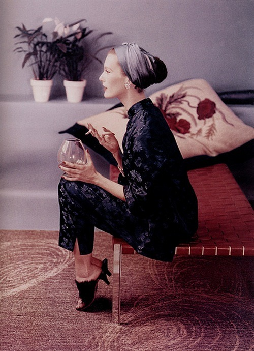 theniftyfifties:  Mary Jane Russell in an oriental inspired pantsuit, 1953. Photo by John Rawlings.