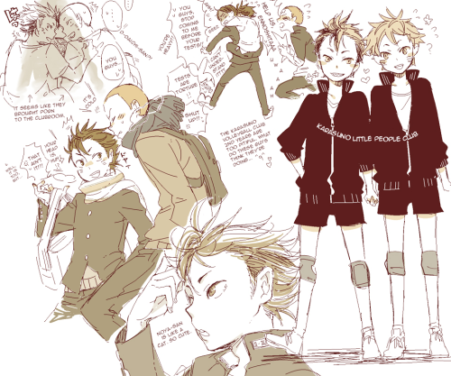 The character up there who most people won't recognize is Nishinoya. He's introduced in chapter 16 (the translation for it should be up soon! I just have a couple more lines to puzzle out) and is a libero for Karasuno. He's also really really hilarious. (hopefully this time the image will be the right size…)