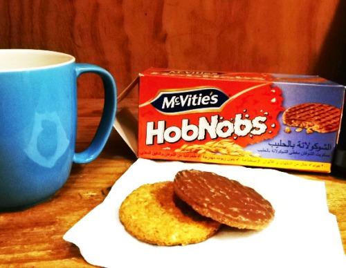 HobNobs and tea at work.