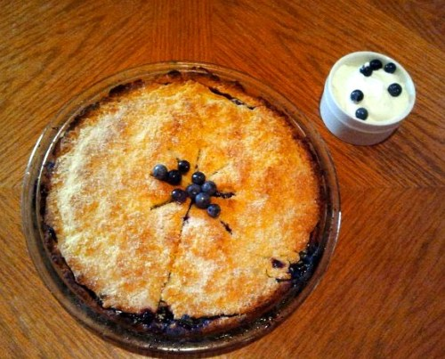 gone-with-guilt:  The blueberry pie I made w/ homemade whipped cream!  YUM.