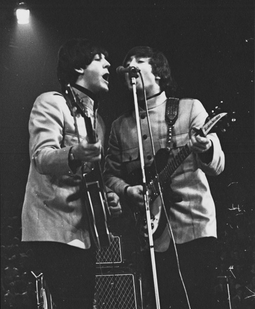 theswinginsixties:  Beatles on stage.  my loves