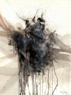mydarkenedeyes:  The Realization (Ink and human blood on paper.) Latest work from Francisco Villarroel