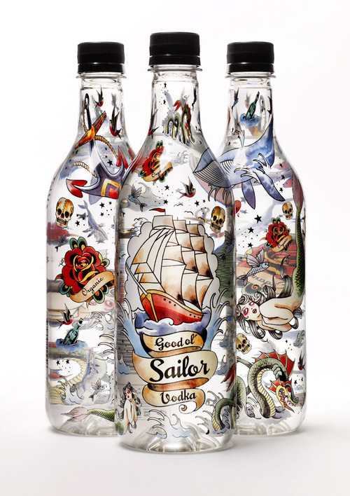 Good ol' Sailor Vodka  Sweden's first vodka in PET bottle. It's also one of the first vodka made of organically grown, Swedish barley. The new Swedish eco-vodka is distilled four times and has a clean, fruity nose with some spicy aftertaste and released in a Swedish-made PET packaging for minimal environmental impact.