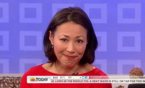Ann Curry bids a tearful farewell to Today. But she does get one final dig in:  They're giving me some fancy new titles, which essentially means that I'm going to get tickets to every big story we want to cover.  Those fancy new titles are: Today Anchor at Large and National and International Correspondent for NBC News. What a mouthful. [Watch her say goodbye here]