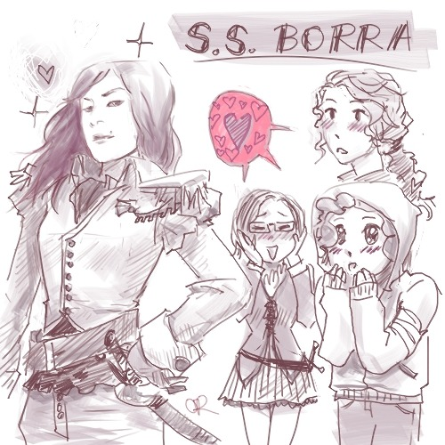 korrashorts:  oreides:  yes, we fangirl over our co-captain Di (aka korrashorts) on the SS Borra.(left to right: di, raye, coco, and me in the back) drew this because of all the love she's been getting and giving of late c: a little taste of the SS Borra mini-comics to come!WE LOVE YOU DI. YOU'RE SO FLIPPIN CUTE AND SEXY also sorry if you're not in it, there was too little room. dont worry though, you'll get your moment to shine later.  OMG WHAT IN THE NAME OF HOLY FLYING HOGMONKEYS AM I LAYING MY EYES ON. OMG. OMG. OREO. *SCREAMING* WHY AM I DAPPER? OMG, I AM THE LEAST DAPPER BEING ON THIS EARTH. WHY THE SPARKLES. WHAT THE IS THE IT'S A SPARKLING CAPTAIN VERSION OF ME OMG I … DO NOT EXUDE THAT KIND OF AIR. OMG. I AM IN UNIFORM. WHY ARE YOU ALL THERE FANGIRLING. WHAT THIS IS NOT REPRESENTATIVE OF OUR RELATIONSHIP. sdlkfjalfjowjgoqwgjwgowjiijtoitjiowtwioawgjtoawijg I LOVE YOU ALL BUT OMG OMG I CAN'T /dead  i have literally waited ALL DAY for this freakout <3 gosh i lurv you