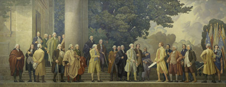 usnatarchives:  It's time for a July 4 pop quiz!  Who was the oldest signer of the Declaration of Independence? Who was the youngest signer of the Declaration of Independence? How many of the signers were born in Great Britain? Which two future Presidents signed the Declaration of Independence? How many men signed the Declaration of Independence? How many of the signers were clergymen?    [Answers: Franklin; Edward Rutledege, age 26; eight; John Adams and Thomas Jefferson;56; 2]  If you answer all 6 questions correctly, you are an honorary Founding Father; answer 4 correctly, you are still a patriot; answer 2 or less correctly, then you must return your tricorn hat and go back to school!  We hope you will join us on July 4 for a reading of the Declaration on the steps of the National Archives. Details here: http://go.usa.gov/vsE The event will also be carried by C-SPAN, so tune in!   Image: mural of the signers, painted by Barry Faulkner, that hangs above the Declaration of Independence in the National Archives in Washington, DC.