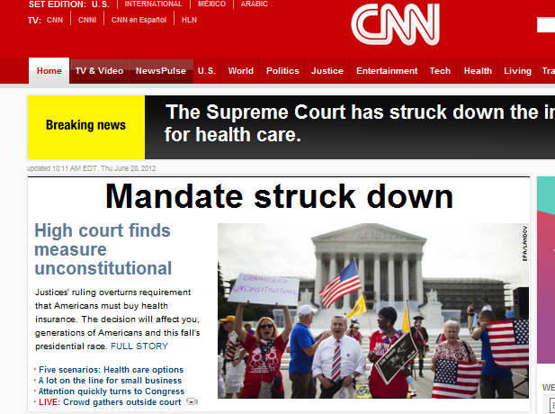 think-progress:  The Supreme Court upheld the Affordable Care Act's individual mandate as a tax.  TOTAL CNN FAIL.