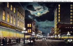 oldflorida:  Night falls on Franklin Street ca. 1920's, Tampa.  Want this on my wall!!!
