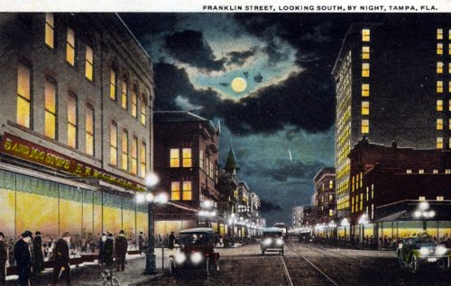 oldflorida:  Night falls on Franklin Street ca. 1920's, Tampa.