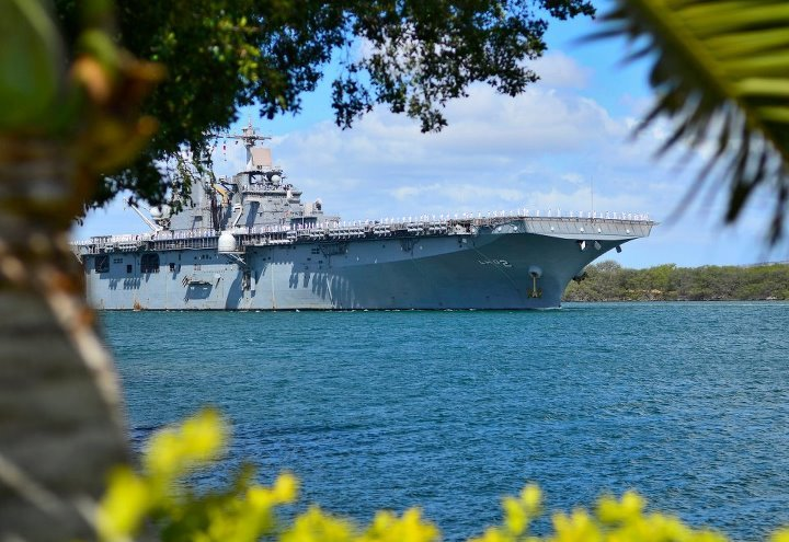 naval-forces:  USS Essex, U.S Navy  The Hubbies Ship in Pearl Harbor June 2012