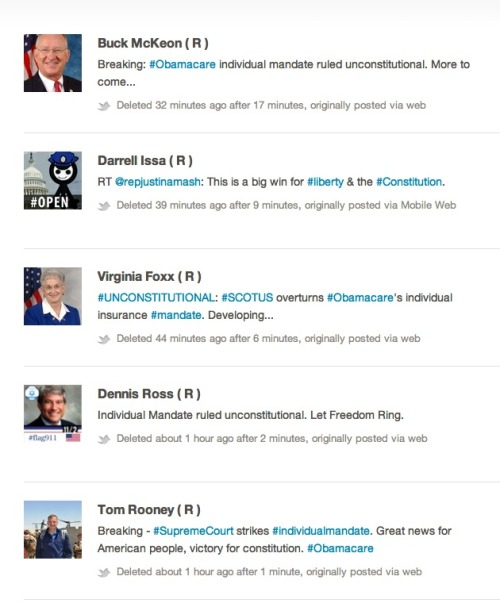 hypervocal:  Hahaha, these Republicans all tweeted the wrong ruling — MORE HERE.  If you give a man a fish, he'll eat or a day. If you give a man a Twitter account, he'll delete his tweets reporting incorrect information and think nobody noticed.