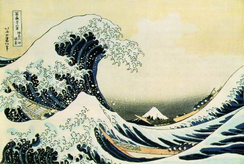 Katsushika Hokusai, The Great Wave off Kanagawa, 1823-29 You will be tossed. Which way would you like it? Hmmm… big fan of the Japanese version, tense. Heroic. But my vote's for Hambling's fearsome sensuality (below). No explanation needed on this one friends – you are on your own.