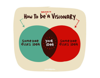 "How To Be A Visionary This reminds me of a definition of ""Originality"" that I stumbled upon:  Originality - The perceived distance between similar ideas.  S"