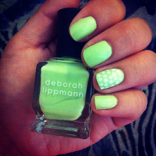 fearlessandtrue:  30 day #nailchallenge day 4: #green! #deborahlippmann #yeabuddy (Taken with Instagram)