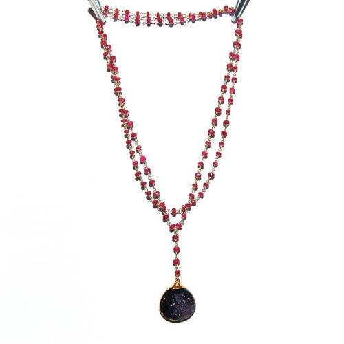 Rosary Necklace Sunstone Ruby @kifjewelry, 33% off now featured on Fab.