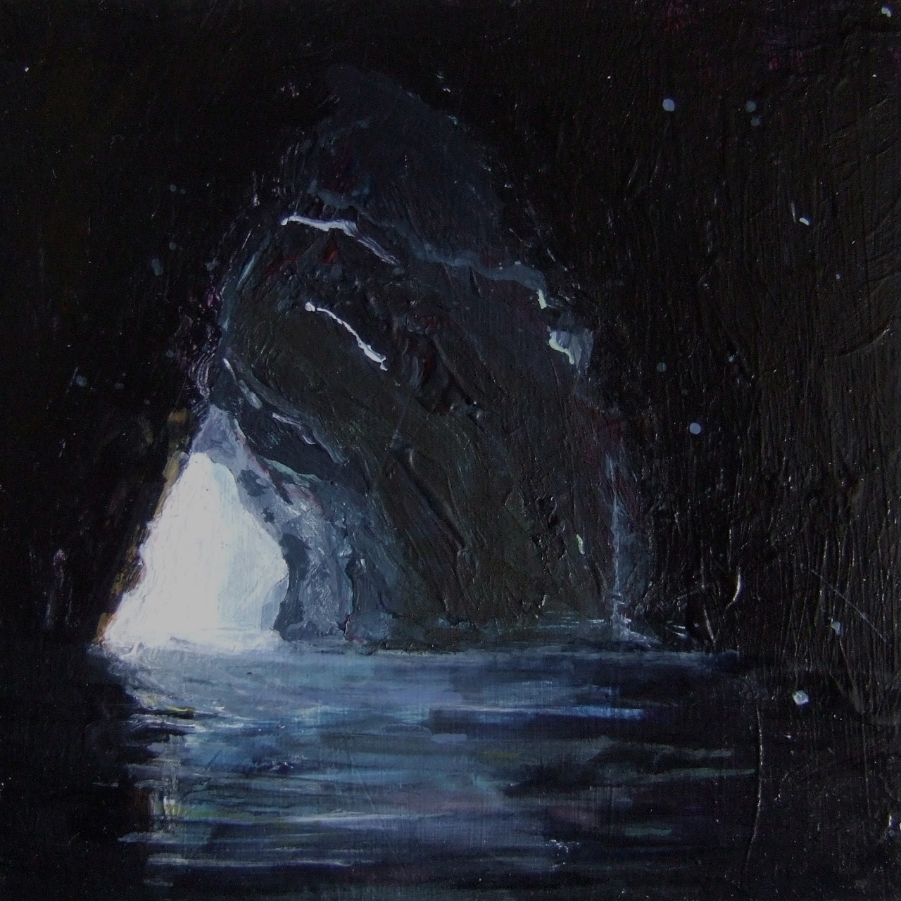 Howling Cavern Acrylic and watercolour on Aluminium 10x10cm 2012