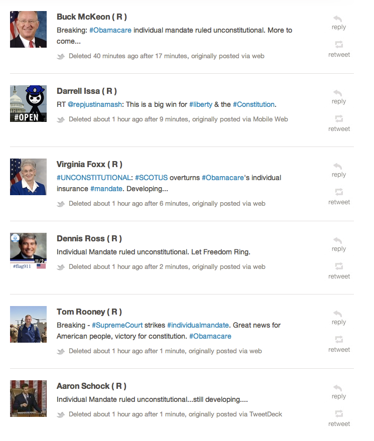 Screenshot of politicians' deleted tweets based on the incorrect CNN/Fox info. Oops.
