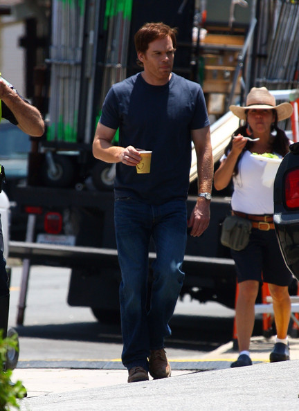 Michael C. Hall on the set of season 7