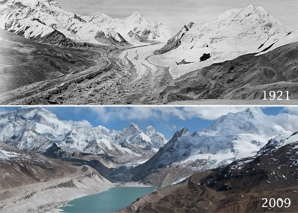 "kqedscience:  The same view of Mount Everest, 88 years apart, affords a striking contrast - and a much diminished glacier. David Breashears says: ""Eighty-six years after Mallory took that photograph, I sat in the exact spot where he had snapped his iconic picture. Pulling out his photo, I was stunned by the changes that had swept over this region. The wide river of ice had retreated more than half a mile, leaving a field of separated ice pinnacles melting into the rocky ground. In the distance, the ice streams on Everest's flank also had shrunk, exposing more of the mountain's dark face."""