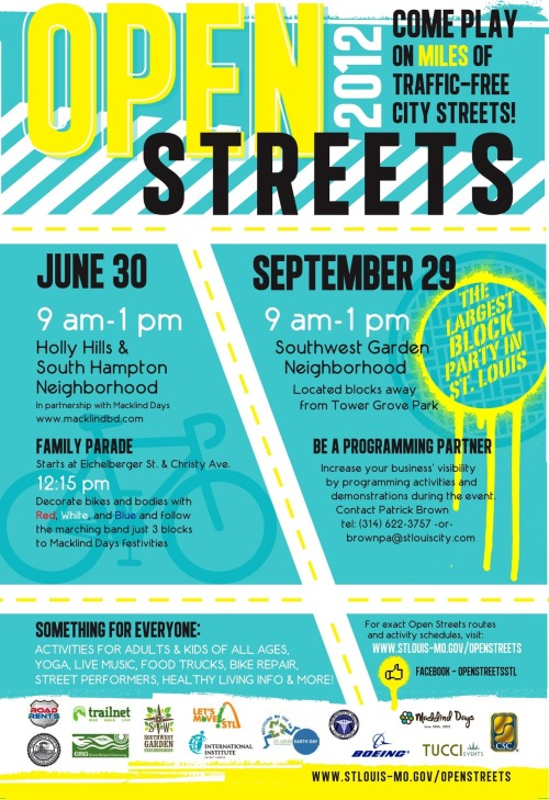 saraellend:  I am looking forward to Open Streets St. Louis this weekend…which coincides with Macklind Days this year! Hope to see you there.