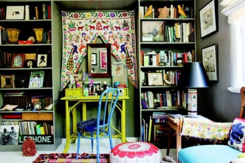 So cool!! :) mybohemiantreehouse:  How to create a successful bohemian inspired interior!    1. Color!!!  Pull out the bright and vibrant color swatches.  2. Combining a mix of vintage furniture from different eras. 3. Upcycle! Get creative; Think of new ways to use pieces, such as this luggage as a table.  4. Bright fabrics with ethnic patterns from around the world. Mix in bright solids with suzani, ikat, Jacobean, Aztec/western, sunburst, paisley, skins and stripes.  5. Texture is a great way to add dimension. Mix textures likes silks, tapestries, carpets, wood and copper. A great way to bring in true bohemian texture is with books!  6. Art Work! Make a gallery wall full of different types of artwork. 7.  Groovy, eclectic light.. in this case.. the bigger and weirder the better! 8. Atleast One Funky, one of a kind piece, like a peacock mirror or birdcage chandelier. 9. Get Messy!! Okay.. I may have made this up.. but it works!!