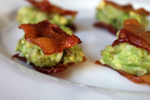 runnersworld:  Guacamole-topped bacon bites. (Get the recipe.)
