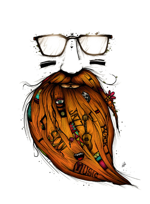 "designersof:  ""Beard Me Some Music"" by Luis Pinto http://www.behance.net/gallery/Beard-Me-Some-Music/4280771"